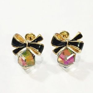 New Post Earrings Black Bow Iridescent Cubes